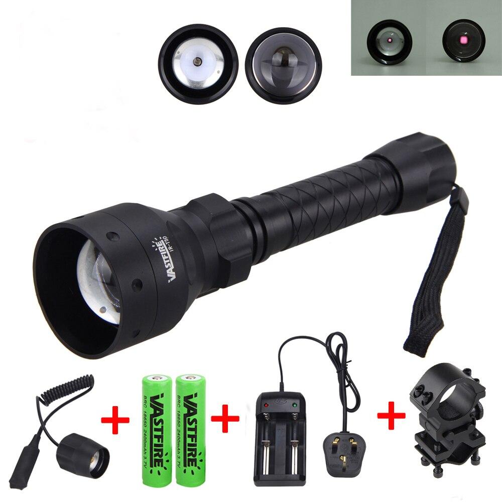 Linterna de caza IR de 850nm T50 LED linterna de visión nocturna infrarroja + soporte de Rifle de 25 MM + interruptor de presión remota + batería 2*18650 + cargador