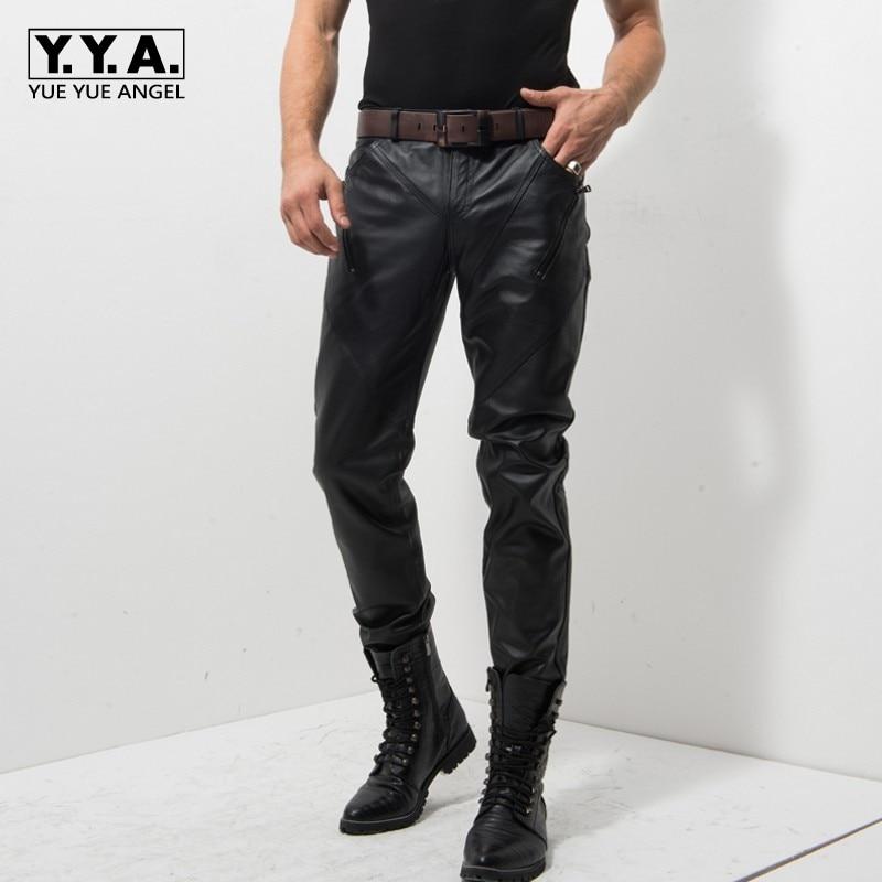سروال رجالي من الجلد الأصلي في منتصف العمر ، سحاب ، نحيف ، مقاوم للرياح ، لركوب الدراجات النارية ، مجموعة جديدة