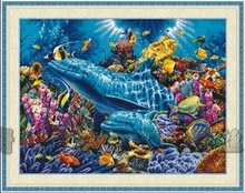 Calidad superior, kit encantador de punto de cruz, delfines del océano, Delfín de mar, mundo submarino