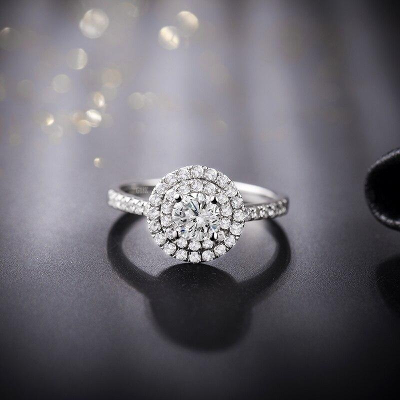 LOVERJEWELRY-خاتم زواج من الذهب الأبيض عيار 14 قيراط مرصع بالألماس اللامع ، للنساء