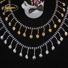 1 Yd kryształ z łezką z kryształu górskiego w kształcie litery odzież basic dekoracyjne łańcuch Ornament srebrnym wykończeniem naklejki do samodzielnego wykonania szyć na dżetów