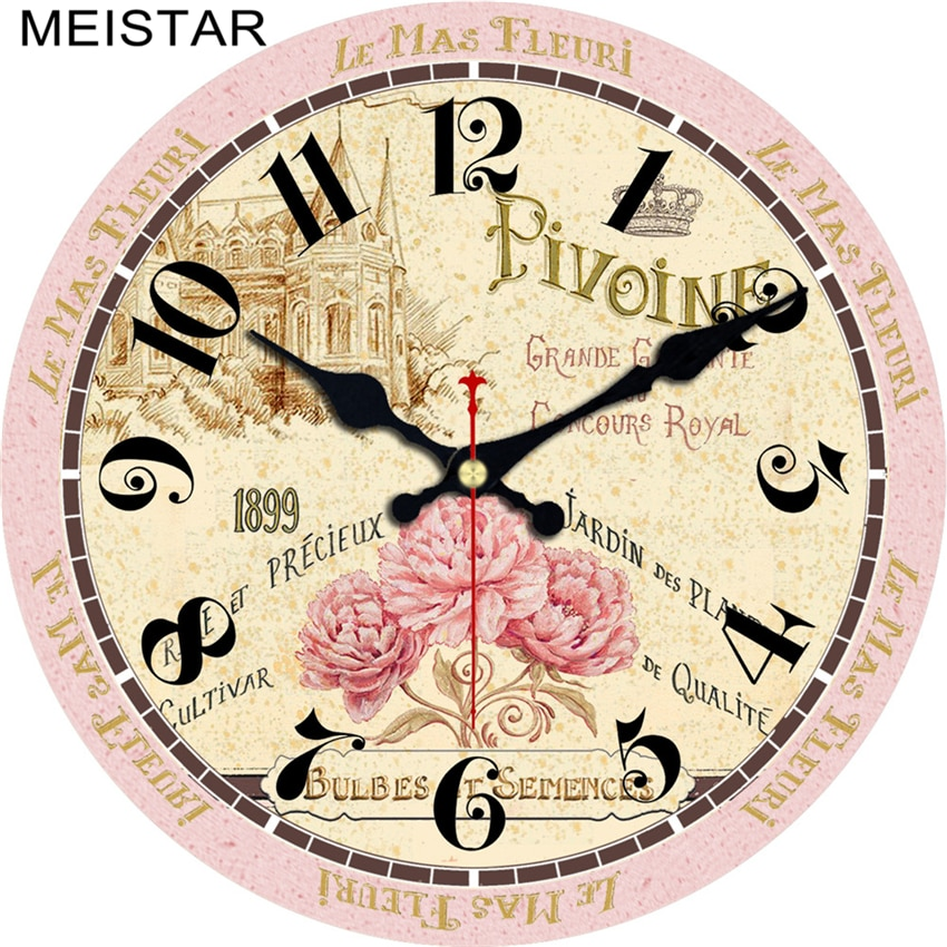 MEISTAR 3 Patterns Vintage Clock Flower Design Silent Living Kitchen Home Decor Watches Retro Large Art Wall Clocks 4 Size 2018