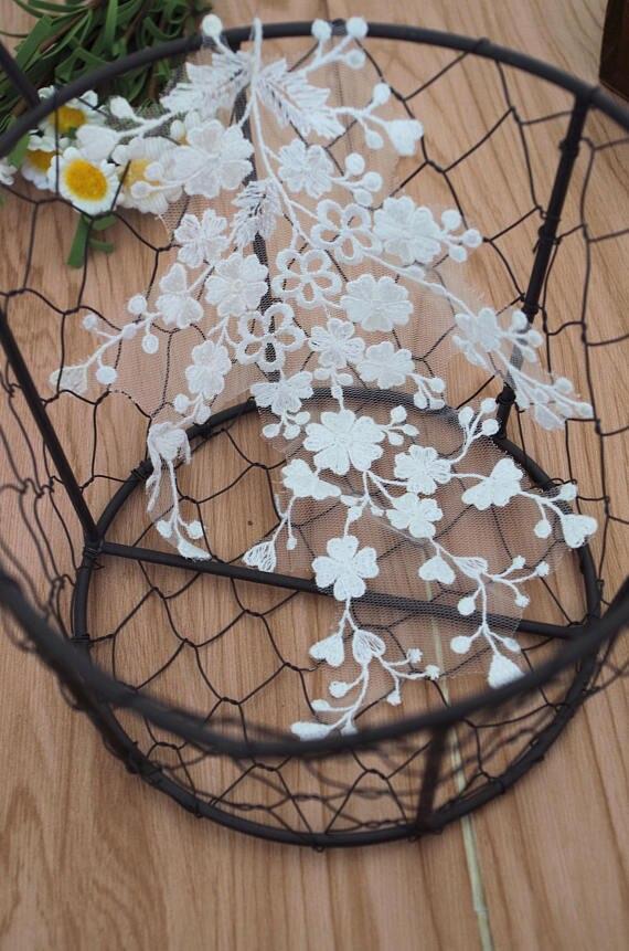 20 piezas encaje de tipo alencon de color marfil, aplique de encaje 3D, aplique de encaje para novia
