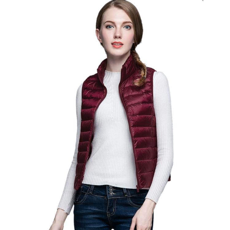 HOT!Winter Women 90% White Duck Down Vest Women's Ultra Light Duck Down Vest Jacket Autumn Winter Sleeveless Coat