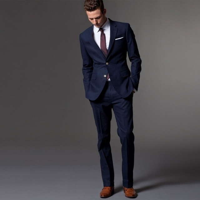 Navy Blue Men Suit Tuxedo Custom Made Wedding Costume Homme Mariage Traje Hombre Mens Suits With Pants Terno Masculino