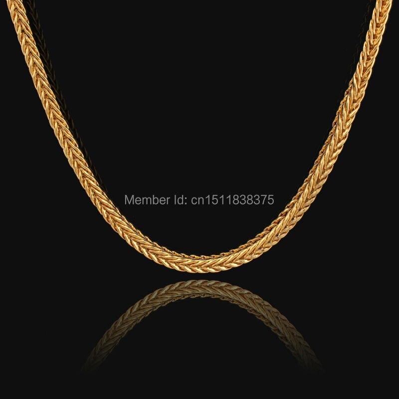 Adixyn 5MM ancho amarillo oro lleno de largo collar cadena de moda collar grueso nueva moda joyería envío gratis