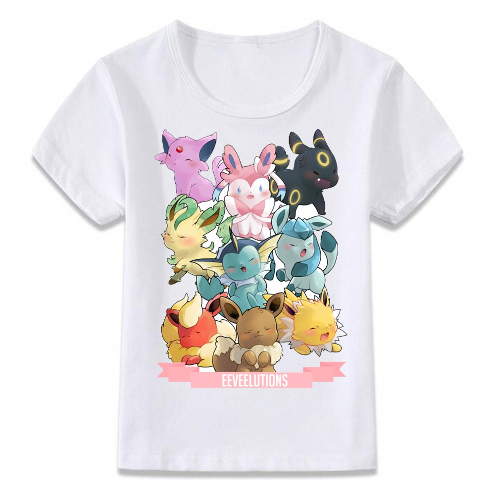 Ropa para niños, camiseta Pokemon eevee Evolution, camiseta para niños y niñas, camisetas para niños pequeños
