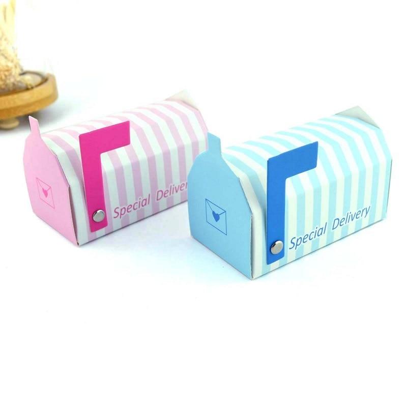 "Mini Caixa de Correio Caixa de Correio Pilar-caixa de Caixas de Bombons Rosa Listrado Azul ""Entrega Especial"" Favores Do Casamento Caixa de Presente Do Partido w8674"