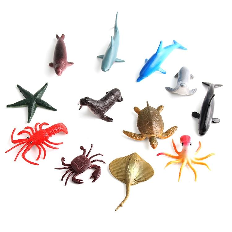 Turtle dolphin starfish crab octopus squid simulation marine animal model toys