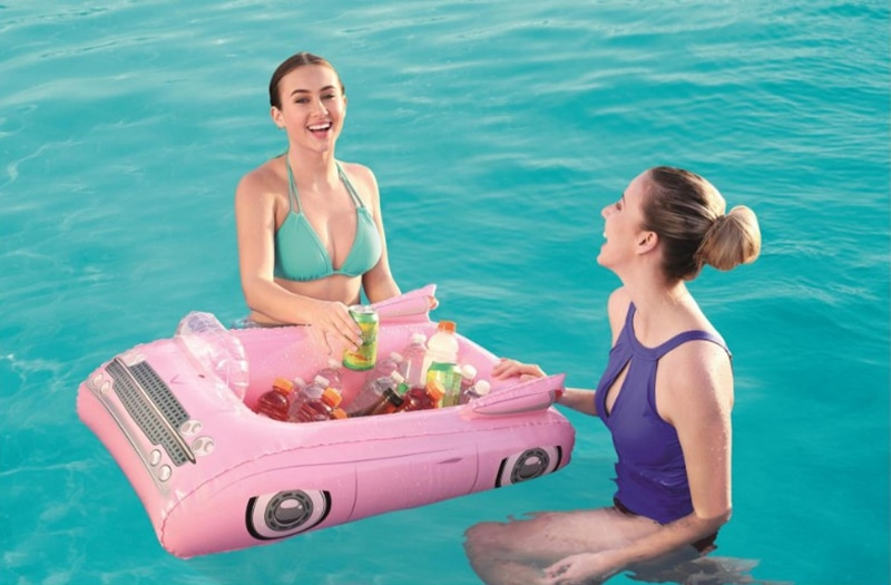 New Large Inflatable Car/Disk Player Ice Bar Floating Can Drink Cup Holder Beverage Water Tray Ice Bucket Pool  Floats