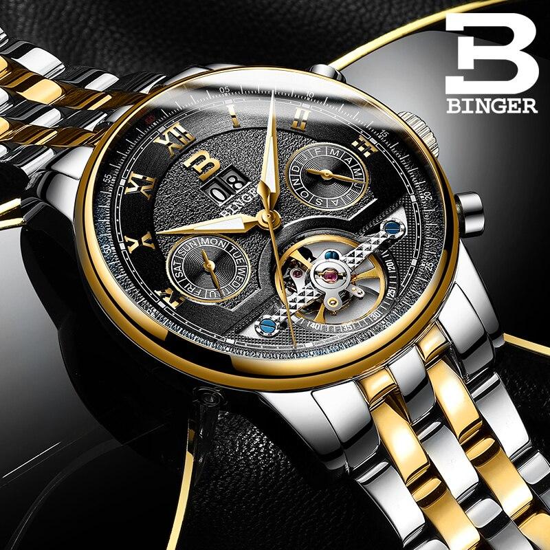 BINGER business watch men Automatic Luminous clock men Tourbillon waterproof Mechanical watch top brand relogio masculino NEW
