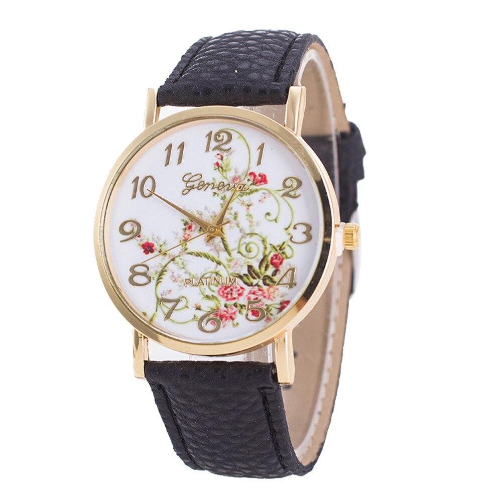 Reloj de pulsera Geneva para mujer, reloj deportivo con flores, reloj analógico de cuarzo para mujer