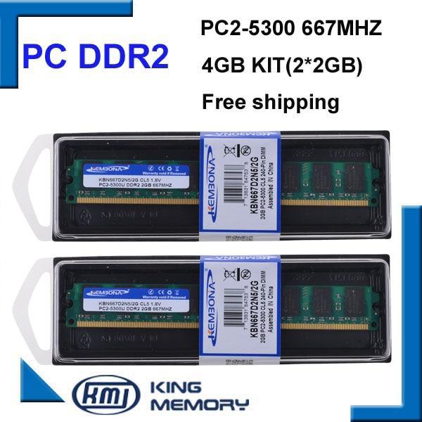 Kembona PC2-5300 nueva computadora Longdimm memoria Ram escritorio DDR2 4GB 667Mhz 4G (Kit de 2,2X 2GB para doble canal)