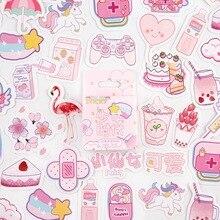 46 pcs/lot petites filles rose Mini décoratif Kawaii mignon autocollants Scrapbooking flocons Journal papeterie déco
