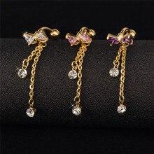 Top Bowknot nombril ventre anneau blanc rose violet cubique zircone couleur or mode Piercing gland bijoux corps livraison gratuite