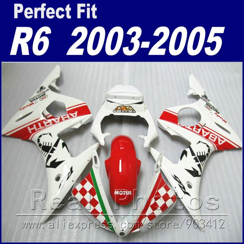 Gran oferta de Piezas de motocicleta para YAMAHA R6 kit de carenado 2003 2004 2005 ABARTH red whiteFit YZF R6 carenados 03 04 05