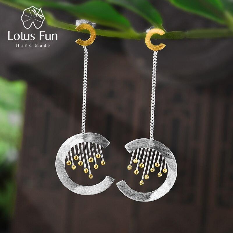 Lotus fun real 925 prata esterlina artesanal jóias finas criativo elemento oriental vintage cortina balançar brincos para mulher