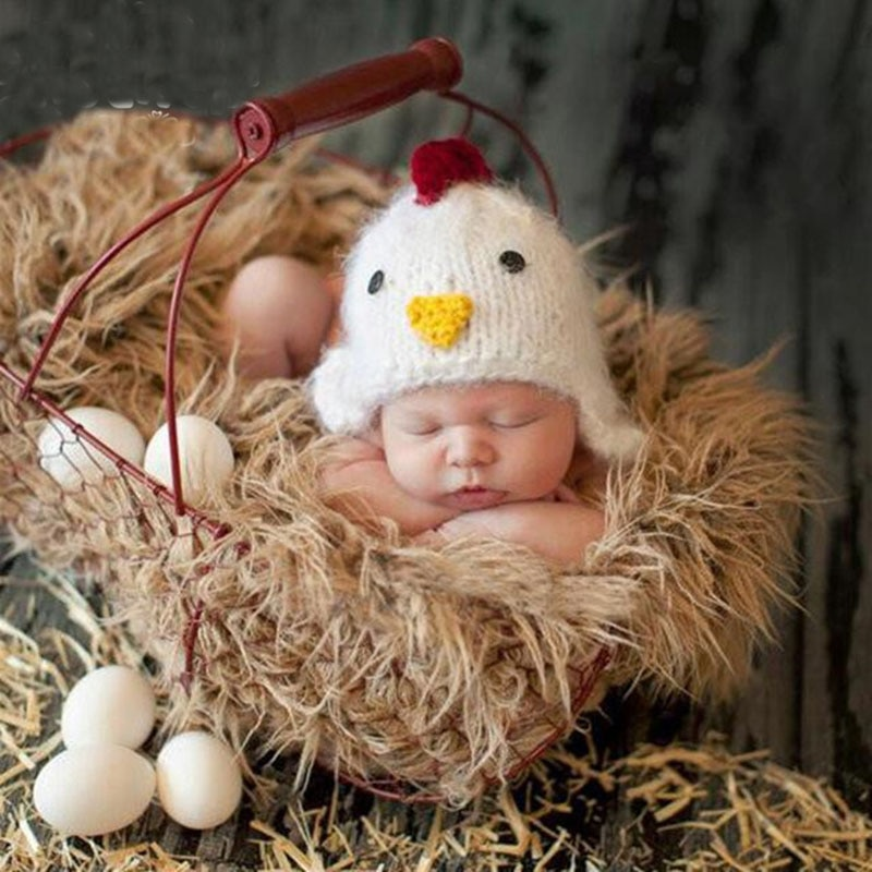 Bebé niño niña sombrero de pollo de dibujos animados accesorios de fotografía recién nacido accesorios de fotografía infantil bebé sesión de fotos estudio posando gorra con accesorios