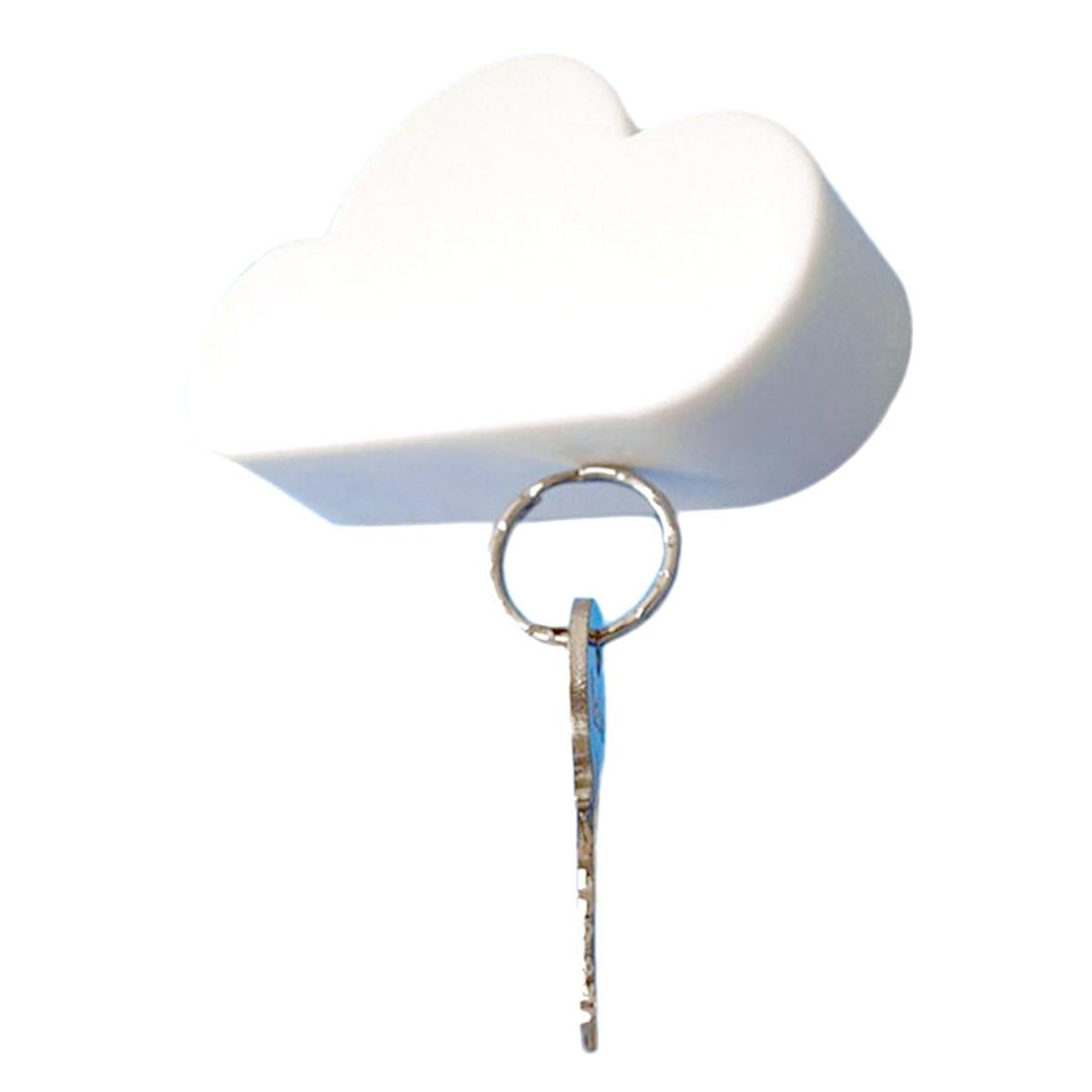 Creative 1PC White Cloud Shape Key Holder Creative Home Storage Holder Hanger Magnetic Magnet Keychain Holder Wall Decor Gift