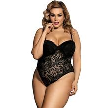 Body Sexy Sexy Sexy érotique dentelle Body costumes pour femmes noir blanc Transparent sans manches grande taille Teddy Lingerie Body R80285