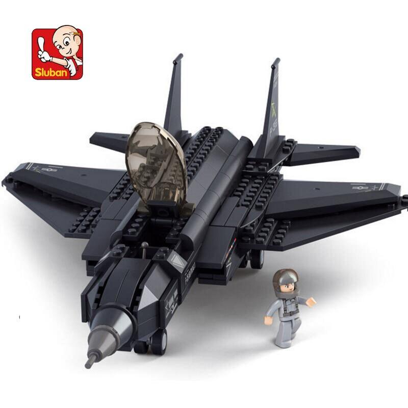 SLUBAN 0510 252Pcs Military Fighter F35 Plane Model Building Block Construction Figure Toys Gift For Children Compatible Lego