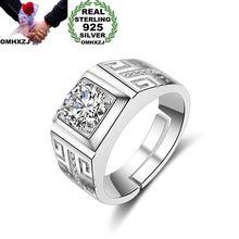 OMHXZJ Großhandel Europäischen Mode Mann Party Hochzeit Geschenk Silber Weiß Platz AAA Zirkon 925 Sterling Silber Ring RR174