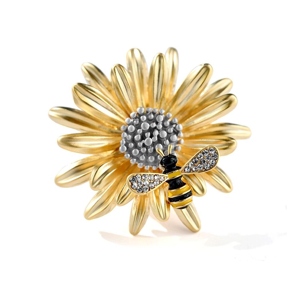 Ajojewel, broche de lujo de crisantemo con broche de abeja con cristales, accesorios de ramillete, hebilla de Pin de abrigo