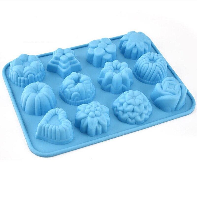 12 moldes de silicona con agujeros para decoración de tartas, herramientas para Chocolate, galletas, moldes para hornear, pastelería, Fondant, herramientas para azúcar artesanal