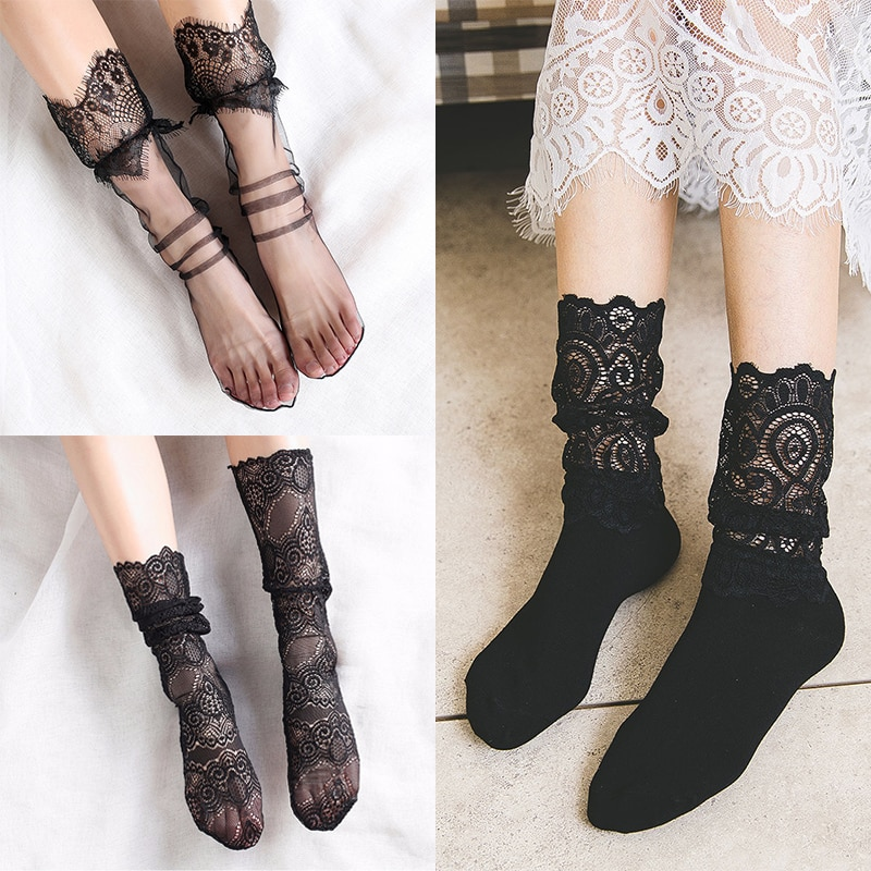 Sale Sexy Retro Lace Floral Mesh Women Girl Socks Elastic  Summer Fashion Lady Transparent Short
