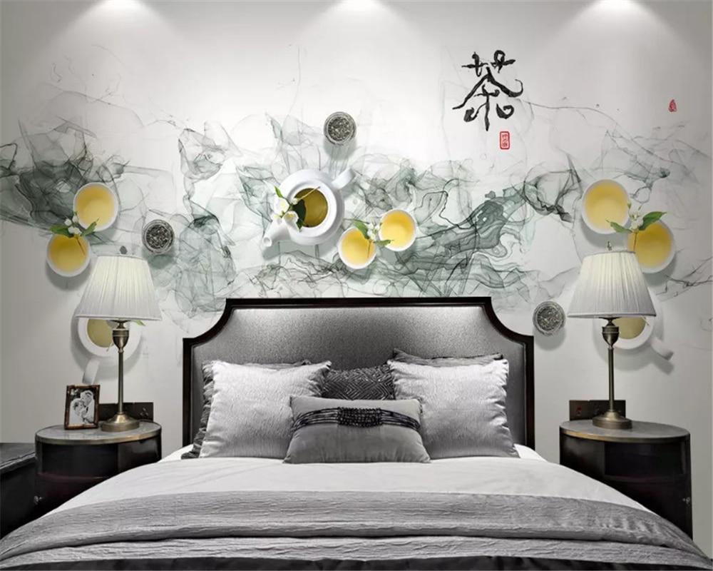 Beibehang, nueva tienda de té de tinta china, casa de té, pintura decorativa colgante, papel para interiores de pared, papel tapiz 3d, fondo behang