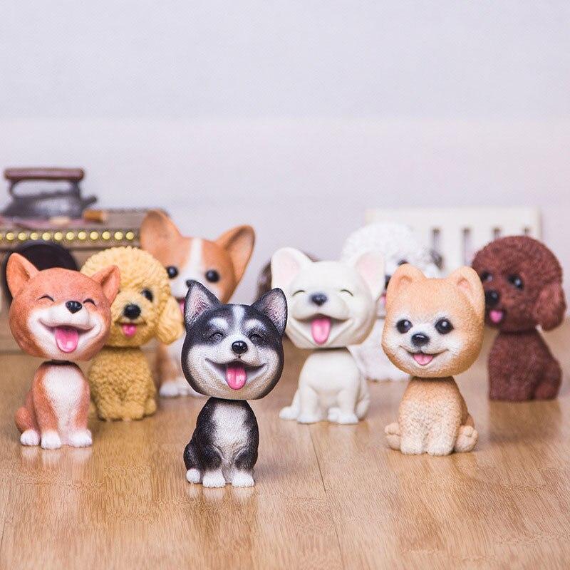 Lifelike Animal Figura de Ação da Resina Bulldog Rouca Pelúcia Corgi Cão Balançando A Cabeça Balançando A Cabeça Brinquedo para a Decoração Do Carro Crianças Brinquedos Estatueta