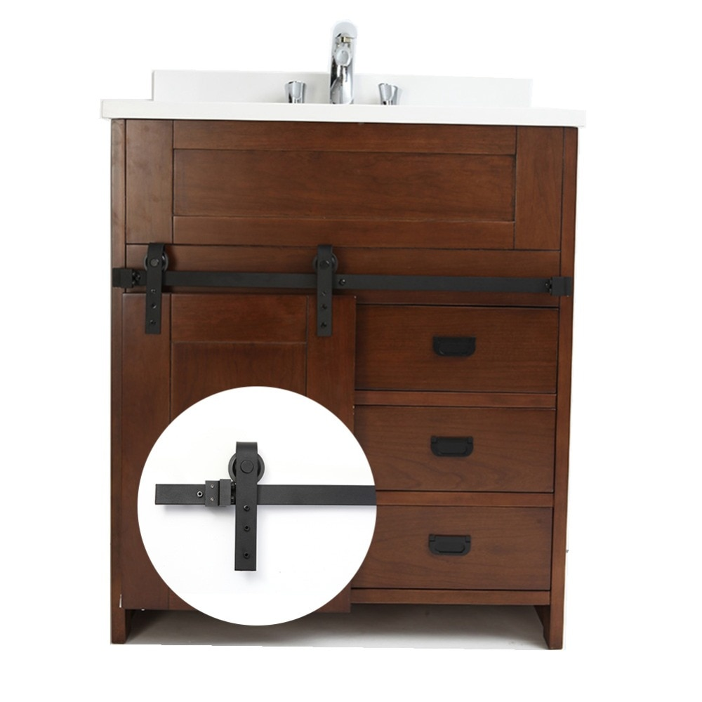 3.3 FT REAL mini sliding barn door hardware Black Carbon steel sliding door system for kitchen Bathroom Cabinet