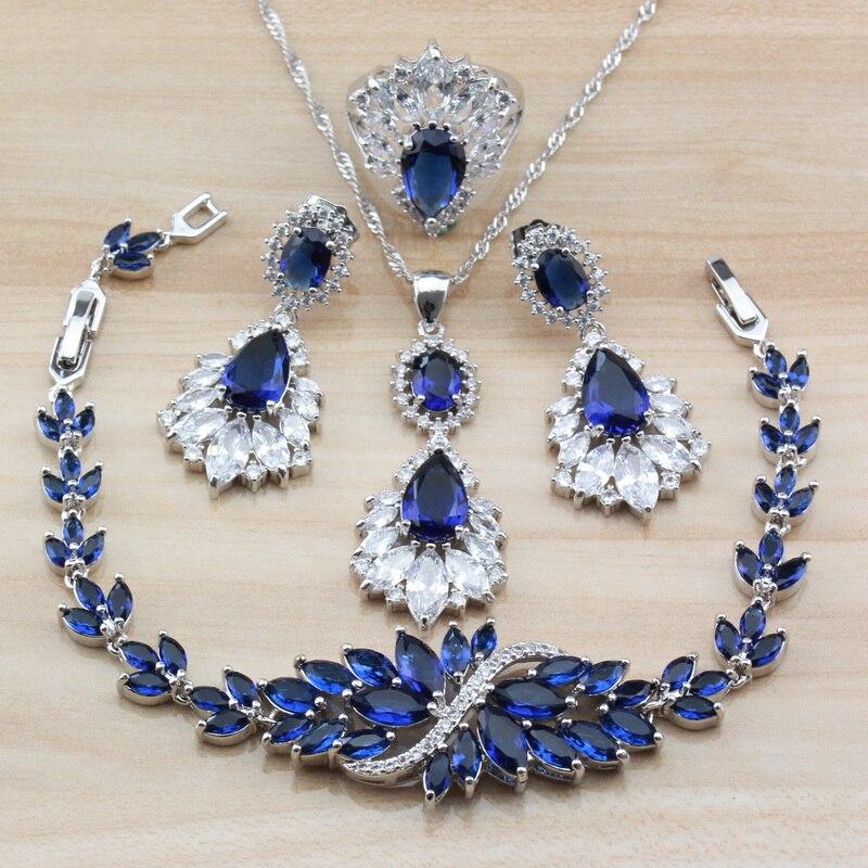Azul grandes conjuntos de jóias exclusivo áustria cristal com pedras naturais para o traje feminino independente caixa de jóias