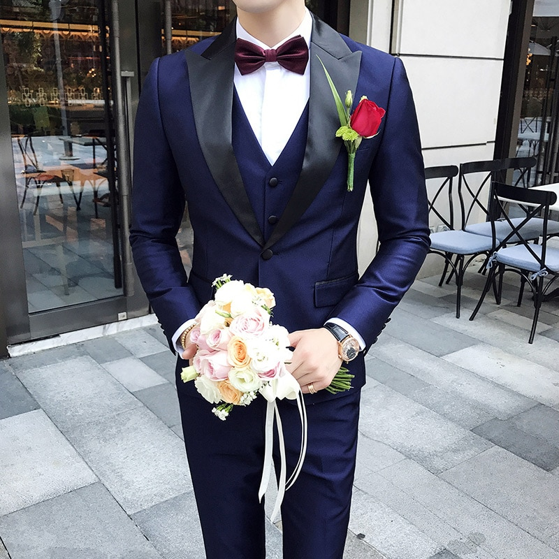 Trajes de cuello pico para hombre, trajes de boda entallados para hombre, Smoking Homme, cena, fiesta, graduación, traje violeta, Terno Delgado, 3 uds