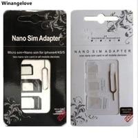 winangelove 5000setlot 4 in 1 nano sim card adapter micro sim card adapter sim card adapter eject pin for iphone 5 6 7