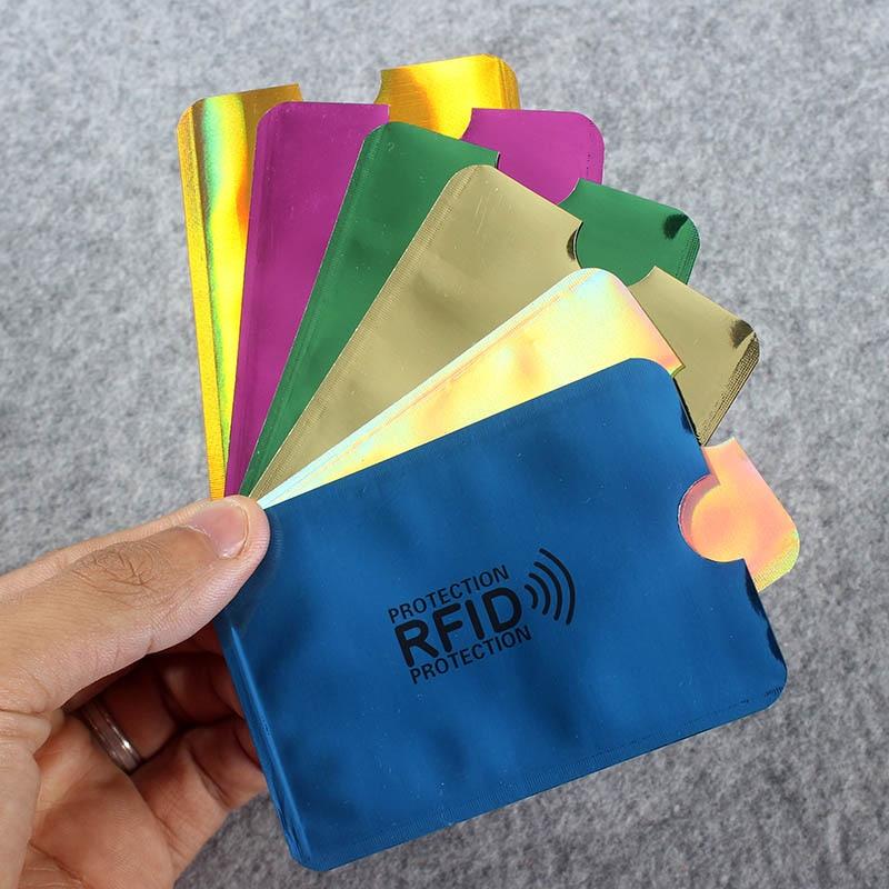 6Pcs Color/Bag Anti Rfid Wallet Blocking Reader Lock Bank Card Holder Bank Card Protection Metal Credit Card Holder Aluminium
