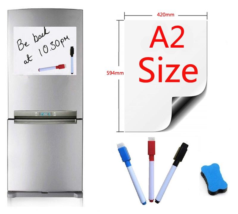 A2 Size Magnetic Whiteboard Fridge Magnets Marker Home Kitchen Message Boards Writing Sticker Magnets 1 Eraser 3 Pen