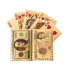 Cartes de Poker de haute qualité or Dollar Euro 24 k jeux de jeu carte à jouer pour Texas Holdem Roulette russe 100% PVC étanche