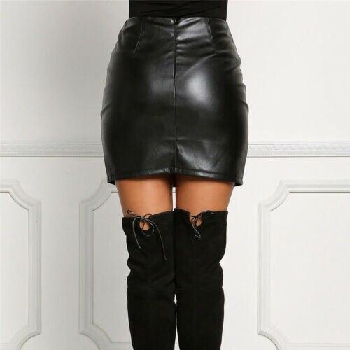 Faldas negras de verano para mujer, minifaldas de cintura alta de cuero PU con bandas negras sexis de verano para mujer