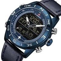 New NAVIFORCE Brand Fashion Blue Men Sport Watches LED Analog Digital Watch Army Military Leather Quartz Watch Relogio Masculino