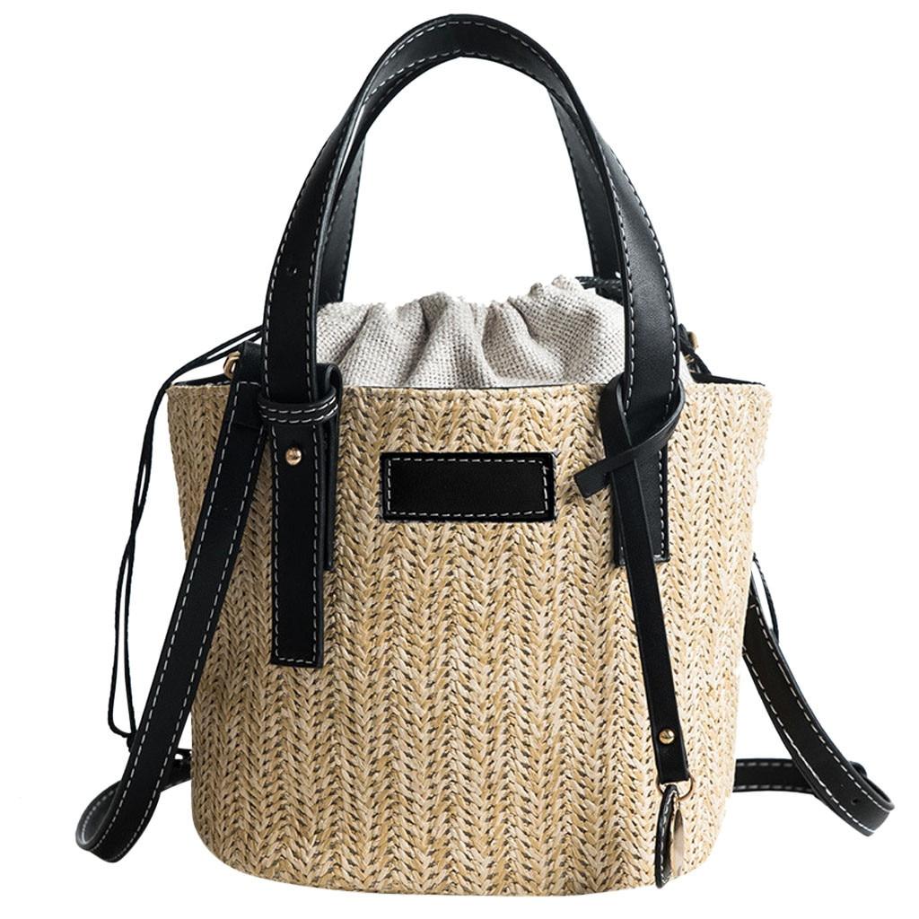 Woman Beach Straw Weaving Shoulder Bag Ladies Trendy Summer Bucket Bag Handbag Vintage Straw Handmade Messenger Bags X