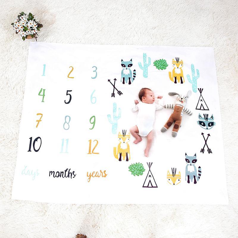 Mantas de bebé recién nacido muselina manta para Envolver al bebé ropa de cama envoltura foto de fondo mensual crecimiento número fotografía accesorios trajes