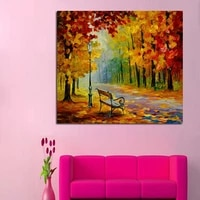 decorative canvas oil painting canvas beautiful autumn forest street wall art modern knife oil painting home decor no frame