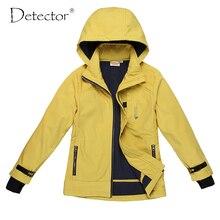 Detecteur grande fille veste softshell jaune marine S-XL