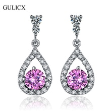 GULICX New Teardrop  White Gold-color Dangling Earring for Women Black Crystal Zirconia CZ Drop Dangle Wedding Jewelry E034
