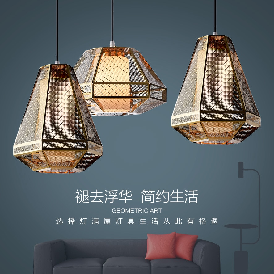 Modern style iron gold pendant light living room bedroom minimalist restaurant pendant light Nordic clothing decoration