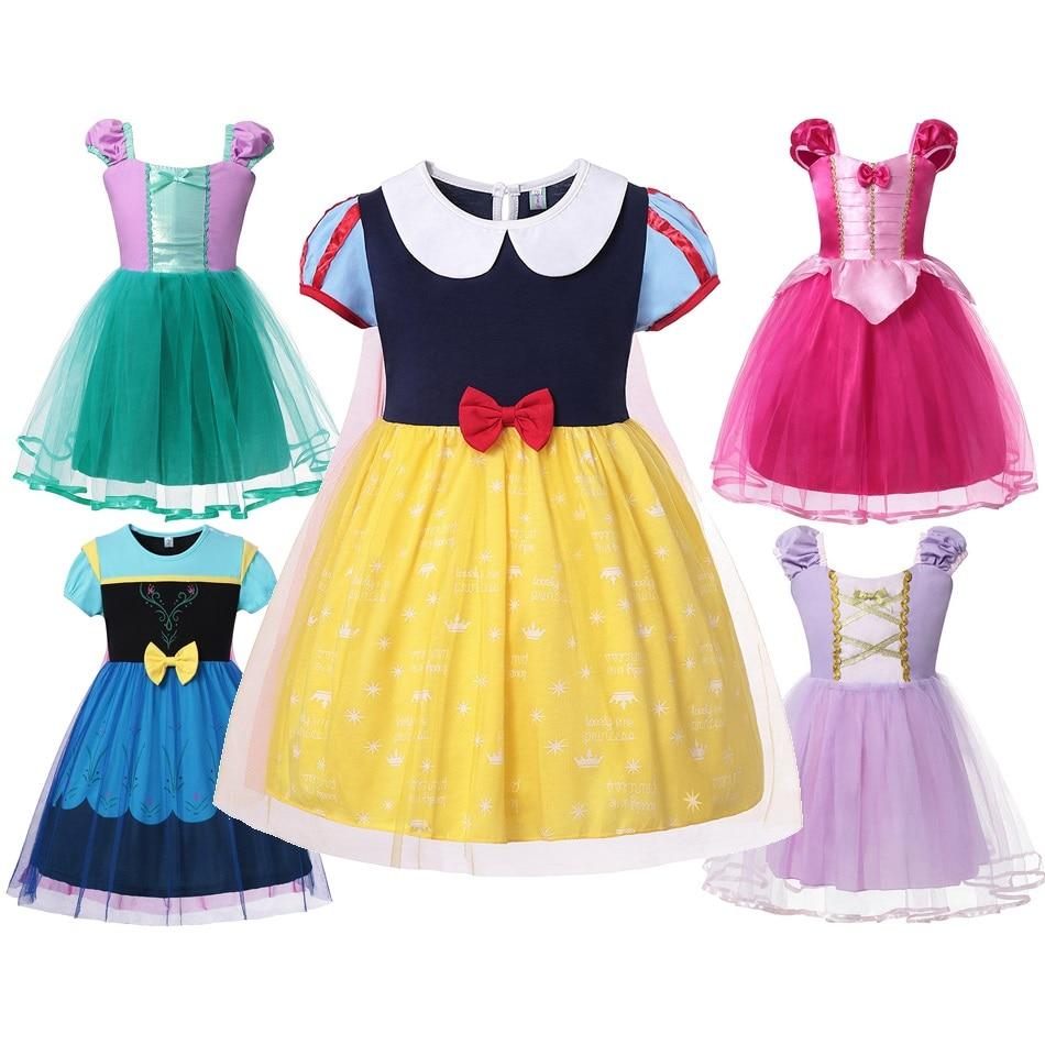 Girl Snow White Fancy Dress Up Kids Summer Adorable Anna Rapunzel Cinderella Aurora Mermaid Halloween Party Costume Outfit