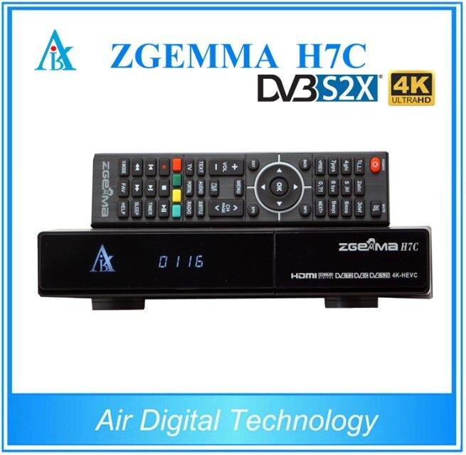 2 pçs/lote novo 4 k uhd kodi caixa de tv zgemma h7c ci + conax qtstalker ultra cpu multistream hevc/h.265 DVB-S2X + 2 * DVB-T2/c tuners triplos