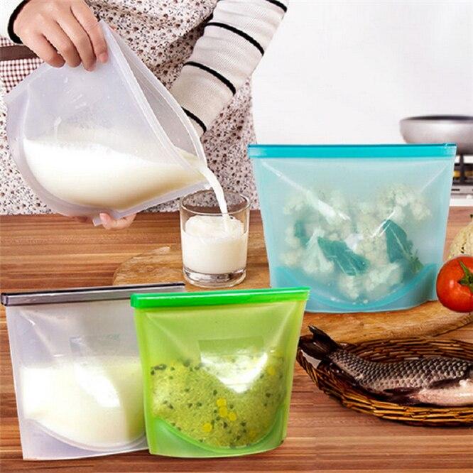 Dhl 100 pces saco de comida de silicone sacos selados frescos reutilizáveis preservação sacos hermético selo recipiente de armazenamento 1000ml