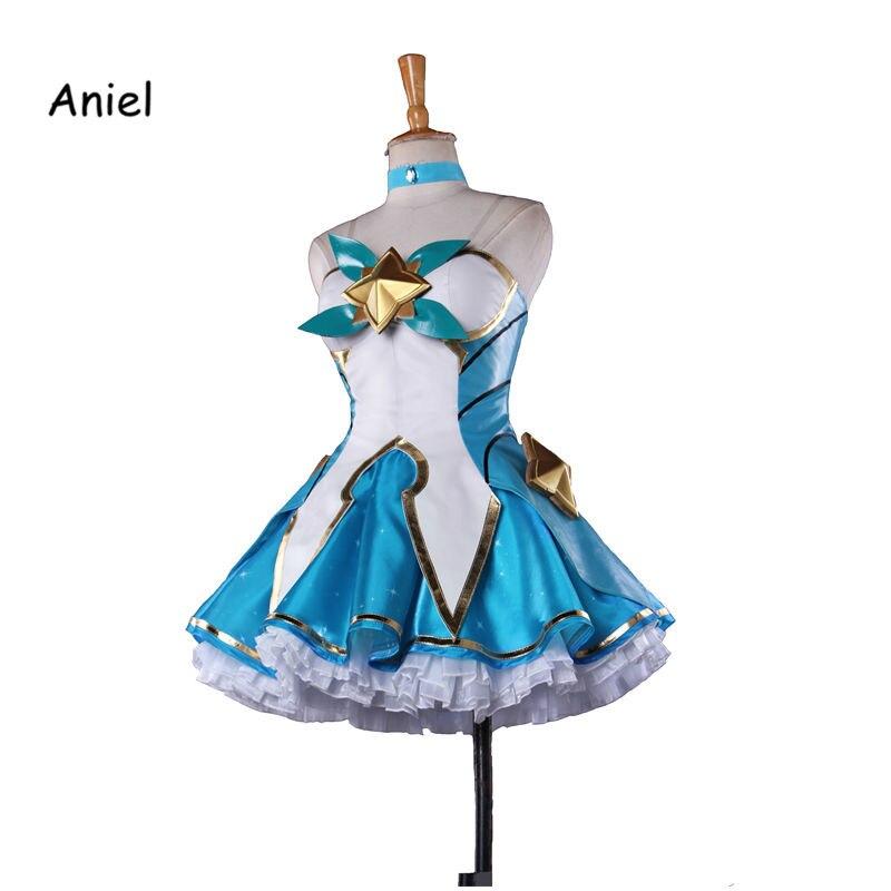 Juego caliente LOL Cosplay disfraz Soraka superhéroe conjunto completo azul Sexy vestido con guantes fiesta de Halloween para mujer adulta
